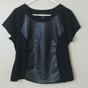 Lane Bryant Faux Leather Mixed Media Top